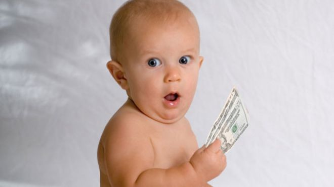 surprised baby with fast cash auto title loan